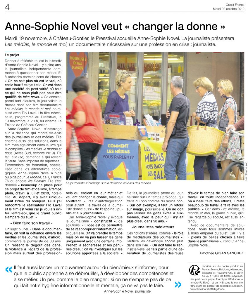 Article Ouest France Press'tival 19 novembre 2019